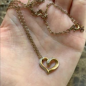 Gold heart diamond necklace
